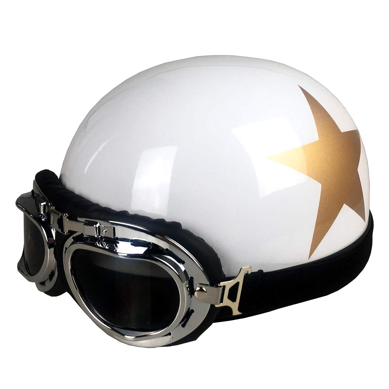 DXQY Casco de moto Casco Retro Casco El/éctrico Para Motocicleta Casco El/éctrico Adulto Hombres Y Mujeres Casco Universal C/ódigo Promedio Hl Estrellas Amarillas Brillantes