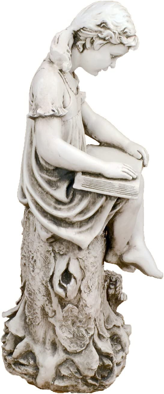 Solstice Sculptures MARY Reading Girl Statue Antique Stone 24x34x89 cm