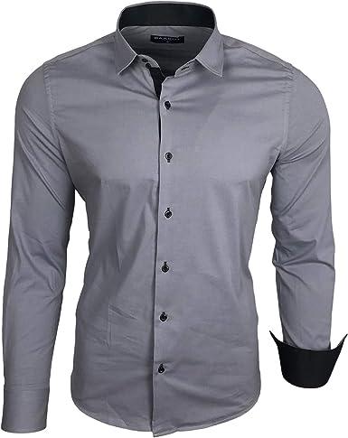 Baxboy B-500 - Camisa de manga larga para hombre, para negocios, tiempo libre, bodas, plancha, ajustada gris XL: Amazon.es: Ropa y accesorios