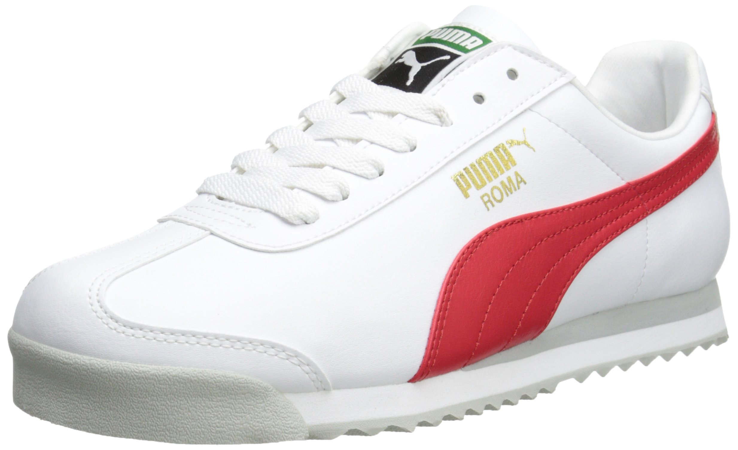 PUMA Men's Roma Basic Fashion Sneaker, White/High Risk Red/White - 9 D(M) US by PUMA
