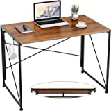 """Engriy Folding Computer Desk, 40"""" Writing Study Desk for Home Office, Simple Industrial Style Wood Table Metal Frame for PC L"""