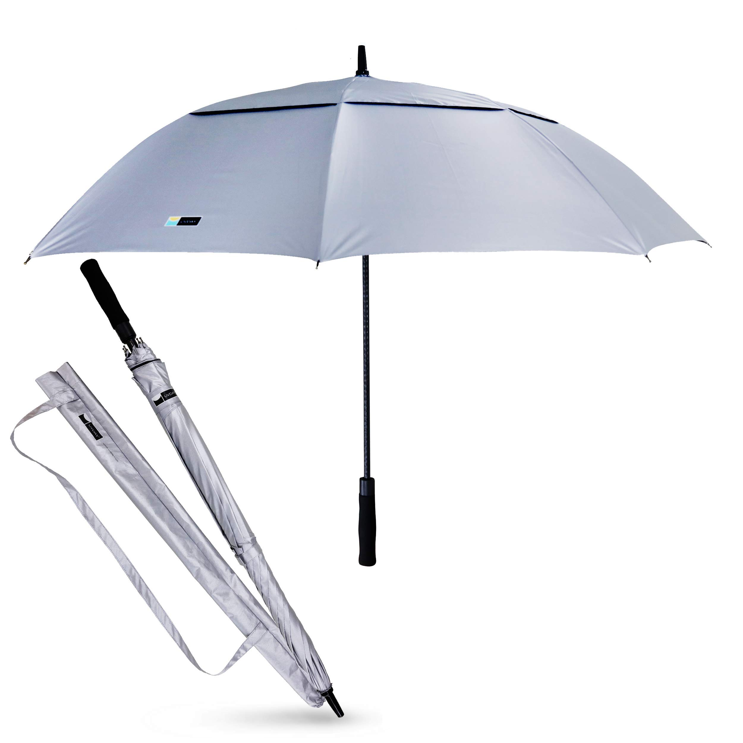 UVDAY Silver UV Protection Long Large Travel Golf Sun Umbrella UPF50+ 31'' with Wearable Shoulder Sleeve