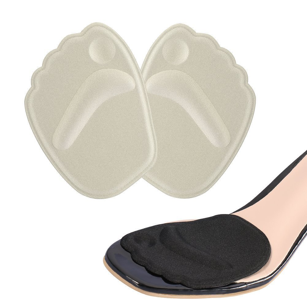 2 Pairs Shoe Pads Foot Cushion for Ball-of-Foot Metatarsal Forefoot Callus, Non-Slip High Heel Insert for Women (Beige + Black)