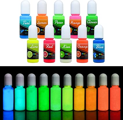Colorante Resina Epoxi UV Fluorescente - Pigmento Líquido de Resina Epoxi Transparente Luminosa para Resina UV, Fabricación de Joyas - Tinte Resina ...