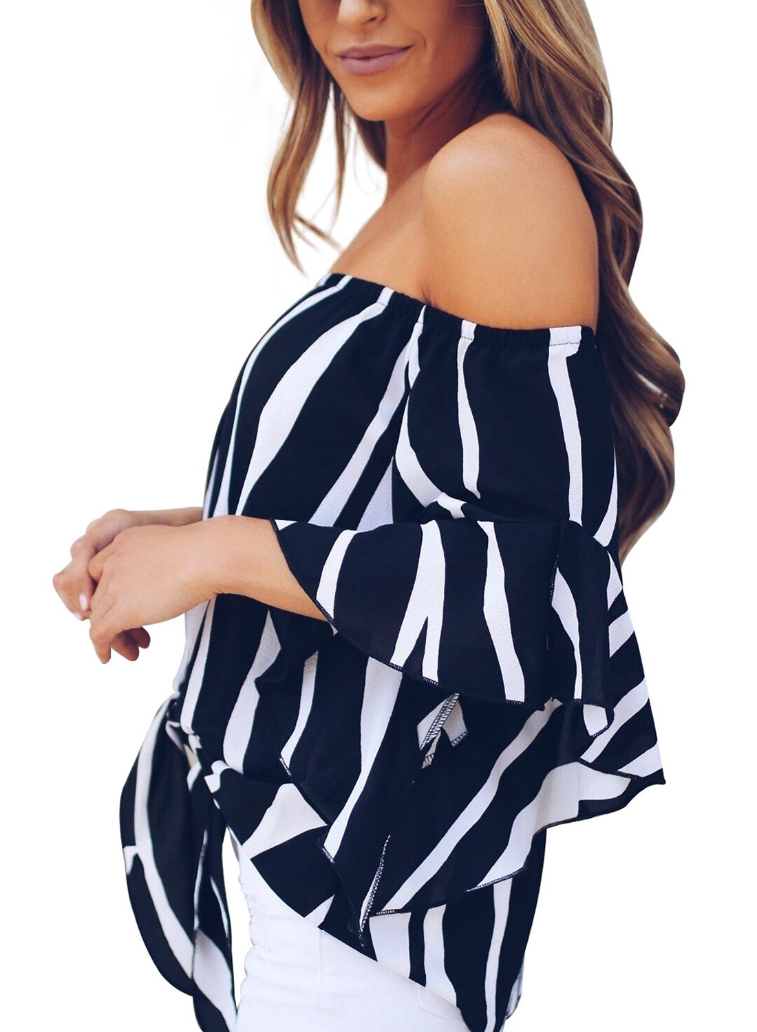 Asvivid Womens Striped Off The Shoulder Bell Sleeve Chiffon Blouses Tunic Tops Plus Size XX-Large Black by Asvivid (Image #2)