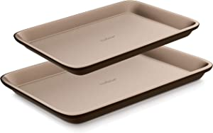 NutriChef 2-Pc. Nonstick Cookie Sheet Pan-Professional Quality Kitchen Cooking Non-Stick Bake Trays with Black Coating Inside & Outside, l :15.7'' x 11.0' - s: 13.4'' x 9.6', champagne gold
