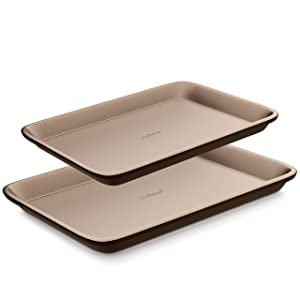 2-Pcs Baking Cookie Sheets Set - Nonstick Pans For Baking, Carbon Steel Pan Cookie Sheet w/ Rimmed Border, Metal, Reusable, Quality Kitchenware For Cooking & Baking Cake Loaf, Designed NEVER to wrap