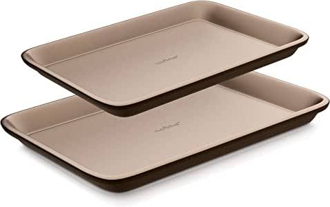 Nutrichef Nonstick Cookie Sheet Pan   2pc Large and Med Metal Baking Tray Professional Quality Kitchen  , Non-Stick w/Rimmed Borders, Guaranteed NOT to Wrap-FDA approved, Gold