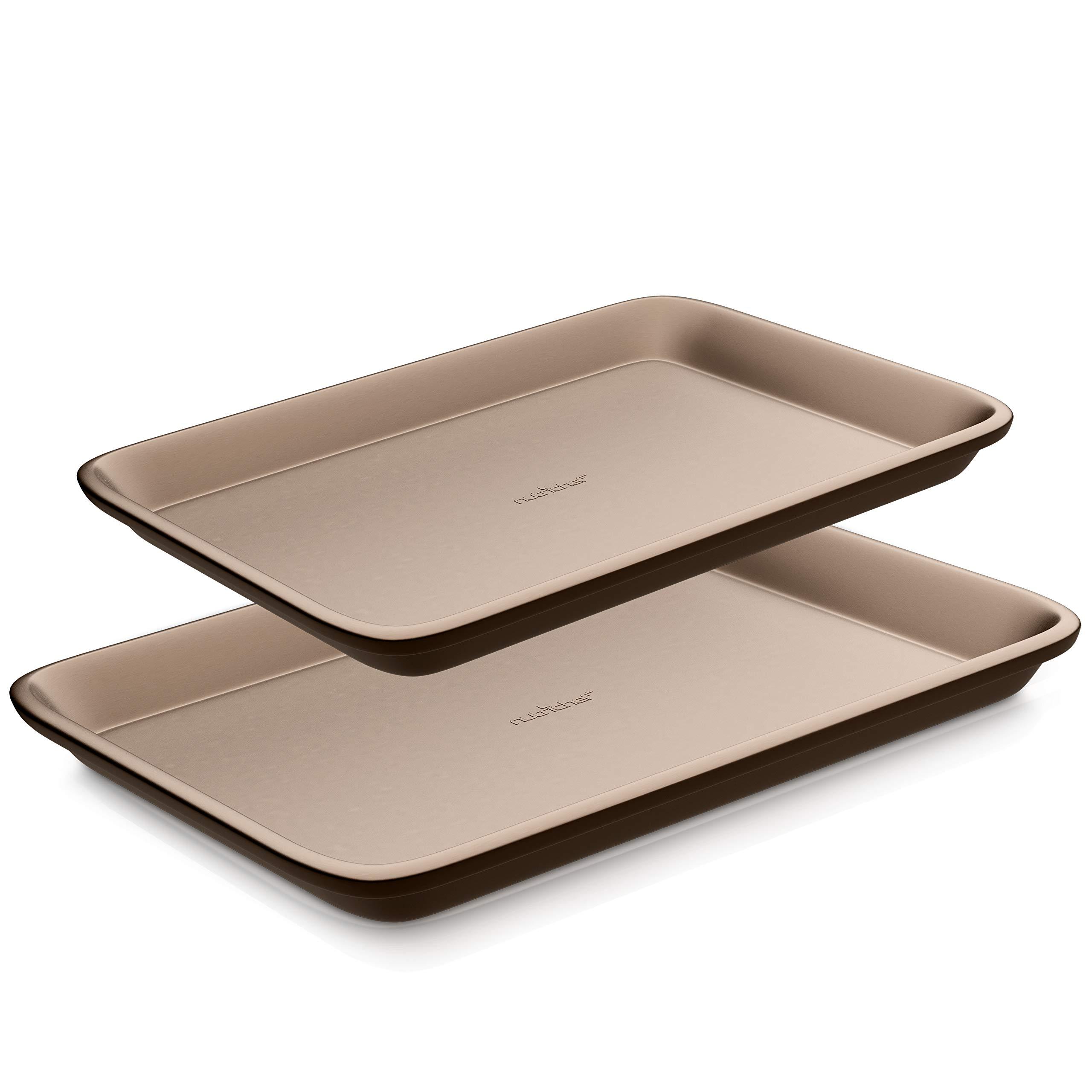 NutriChef NC2TRBK1 2-Pcs Set-Nonstick Baking, Carbon Steel Pan Cookie Sheet w/Rimmed Border, Metal, Reusable, Quality Kitchenwa, L :15.7'' x 11.0' - S: 13.4'' x 9.6', Rose Gold