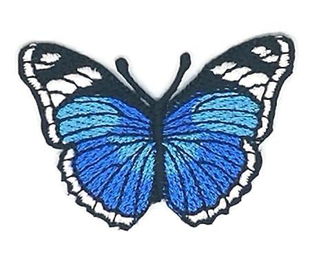 Pequeño tamaño azul negro mariposa dibujos bordados para coser, planchar sobre bordado, para manualidades