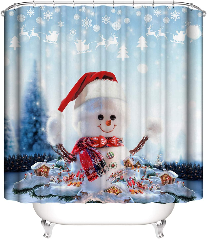 Christmas Bathroom Shower Curtains Waterproof Polyester Santa Snowman Decoration