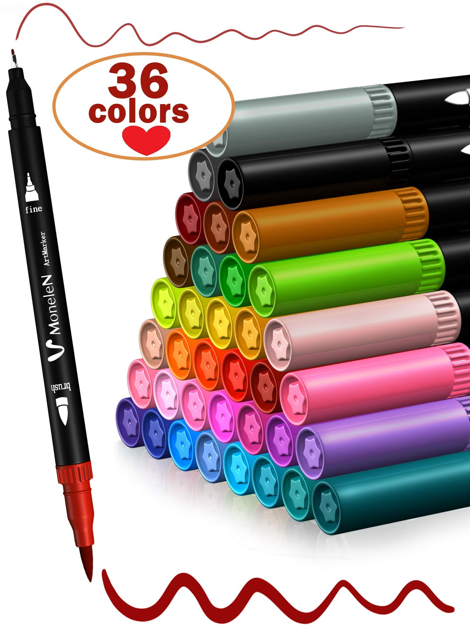 Twin Tip Brush Pens Art Project Markers Colored Fine Tip Pen Set of 36 Fine Point Bullet Journal Pens for Writing Drawing Adult Coloring Books Planner Sketch Book Calendar Note Marker for Kids Adults by MoneleN