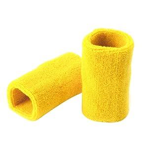 2x Bandeau serre poignet bracelet bande sudation eponge protection Tennis Sport Jogging Gym noir/jaune
