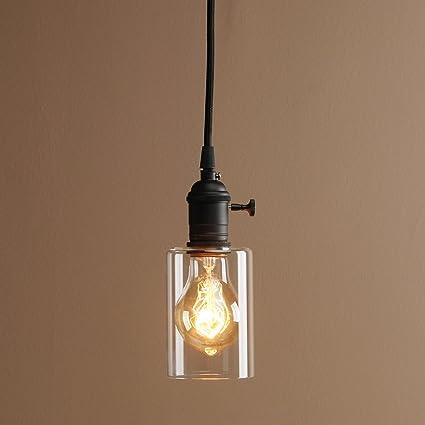 Buyee® único Chic Tulipa de Cristal Retro Loft Lámpara Colgante Retro luz de techo lámpara Vintage, vidrio, black head, black head
