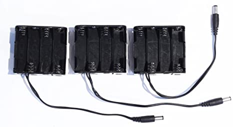 12V Besmelody 8 x 1.5V AA Battery Holder with Switch AA Battery Storage Box Case with Cover and 5.5 x 2.1mm Male Connector