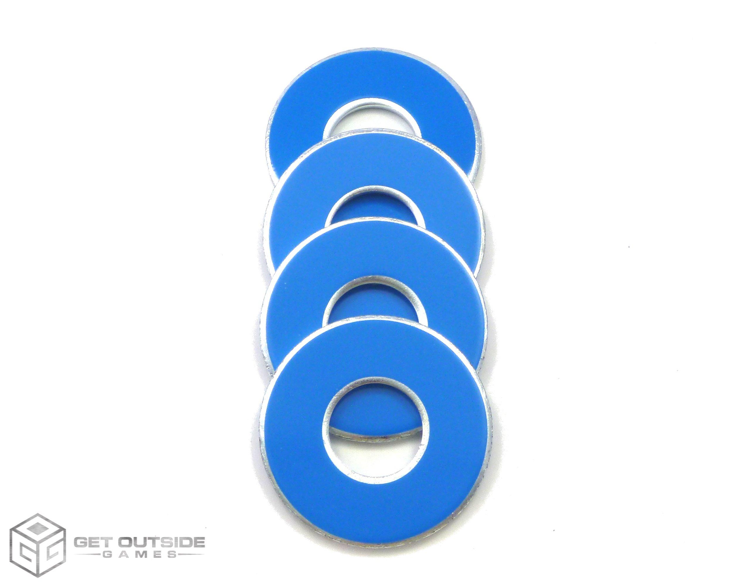 Get Outside Games 4 VVashers - Washer Toss/Washer Game Washers (Blue-Light, 4 VVashers)
