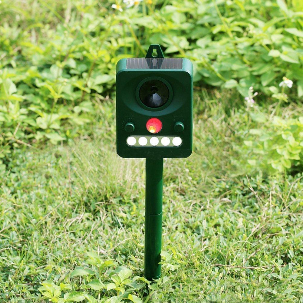 Ultrasónica repelente de plagas Ahuyentador de animales Solar de Topos para jardín con sensor PIR para césped jardín repelente de roedores para gato perro ...