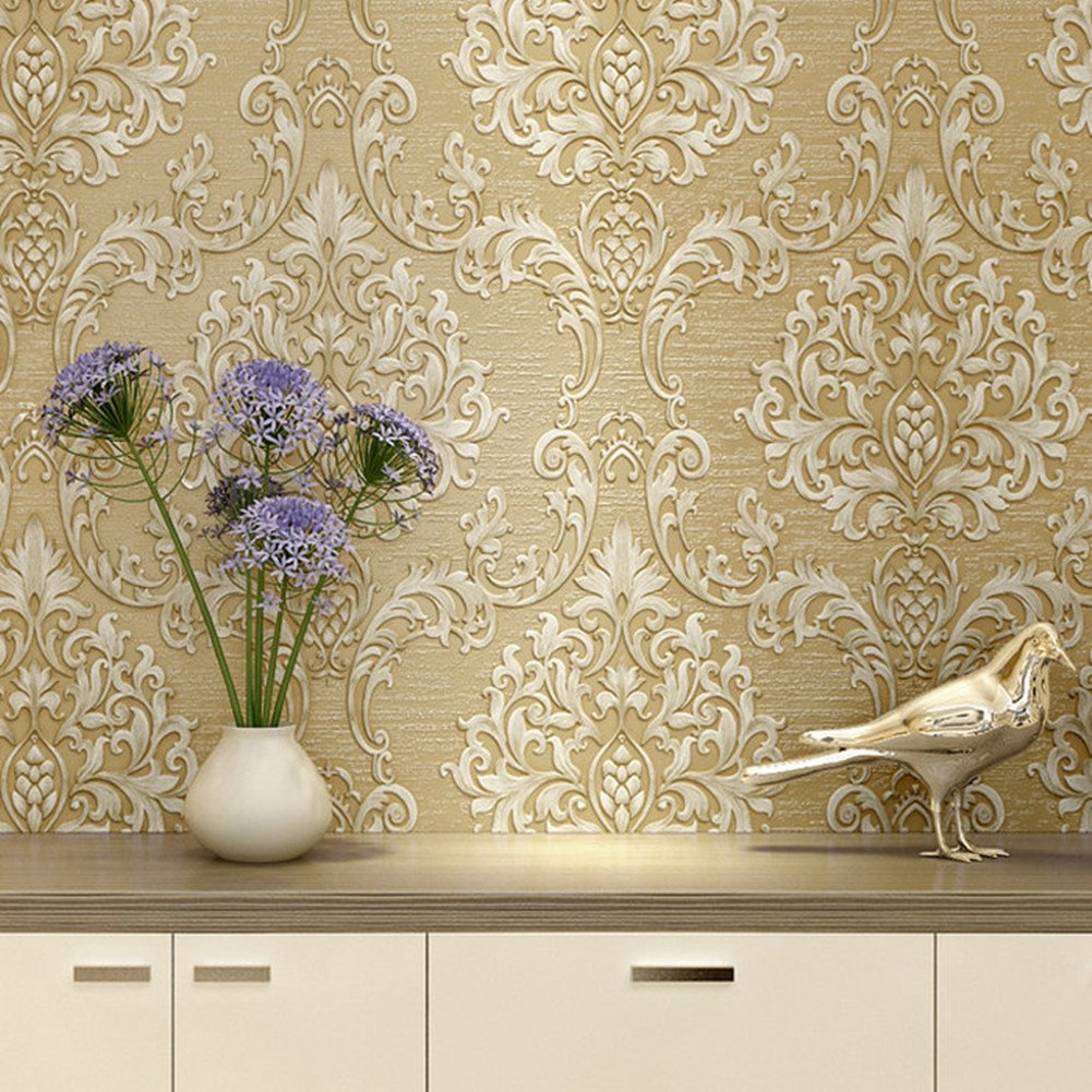Luxury Decorative Pattern Dark Gold Wallpaper (20.5 inches Wide) by Wallpaper (Image #5)