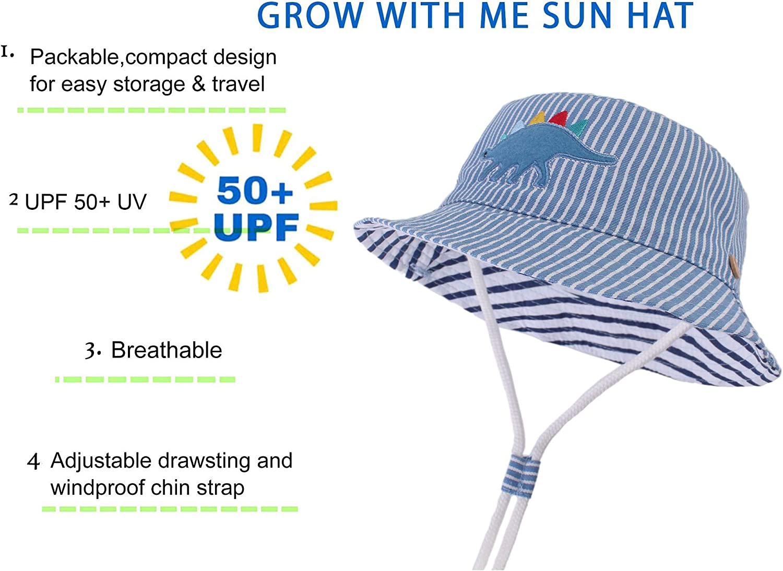 Adjustable for Growth Fancyland Kids UPF 50+ Safari Sun Hat Stay-on Dinosaur Stripes Pattern