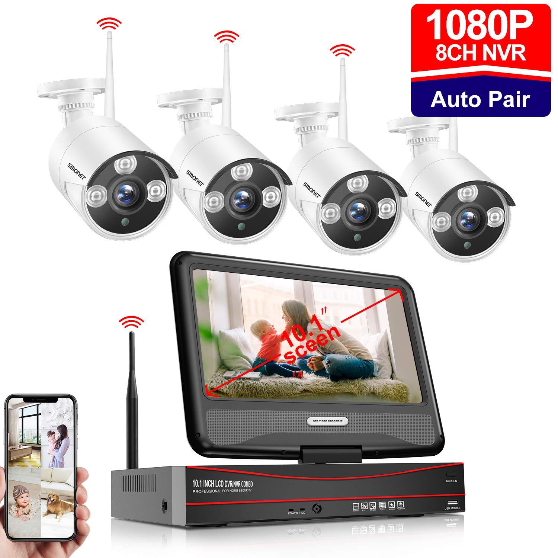 Syst/ème de Surveillance Cam/éra sans Fil 2.0MP Cam/éra IP Etanches IP66 NVR /ÉCRAN 10.1/'/'1080P 8 CH Enregistreur 4 2TO Disque Dur SMONET Kit Video S/écurit/é Camera Exterieur WiFi Vision /à Dista