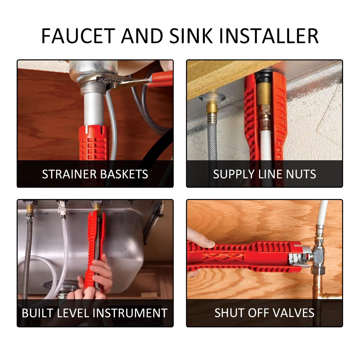 Seven Sparta (8 in 1) Faucet Wrench Removal Tool Faucet And Sink Installer Kitchen Sink Faucet Basin Pipe Nut Plumbing Wrench (Red)