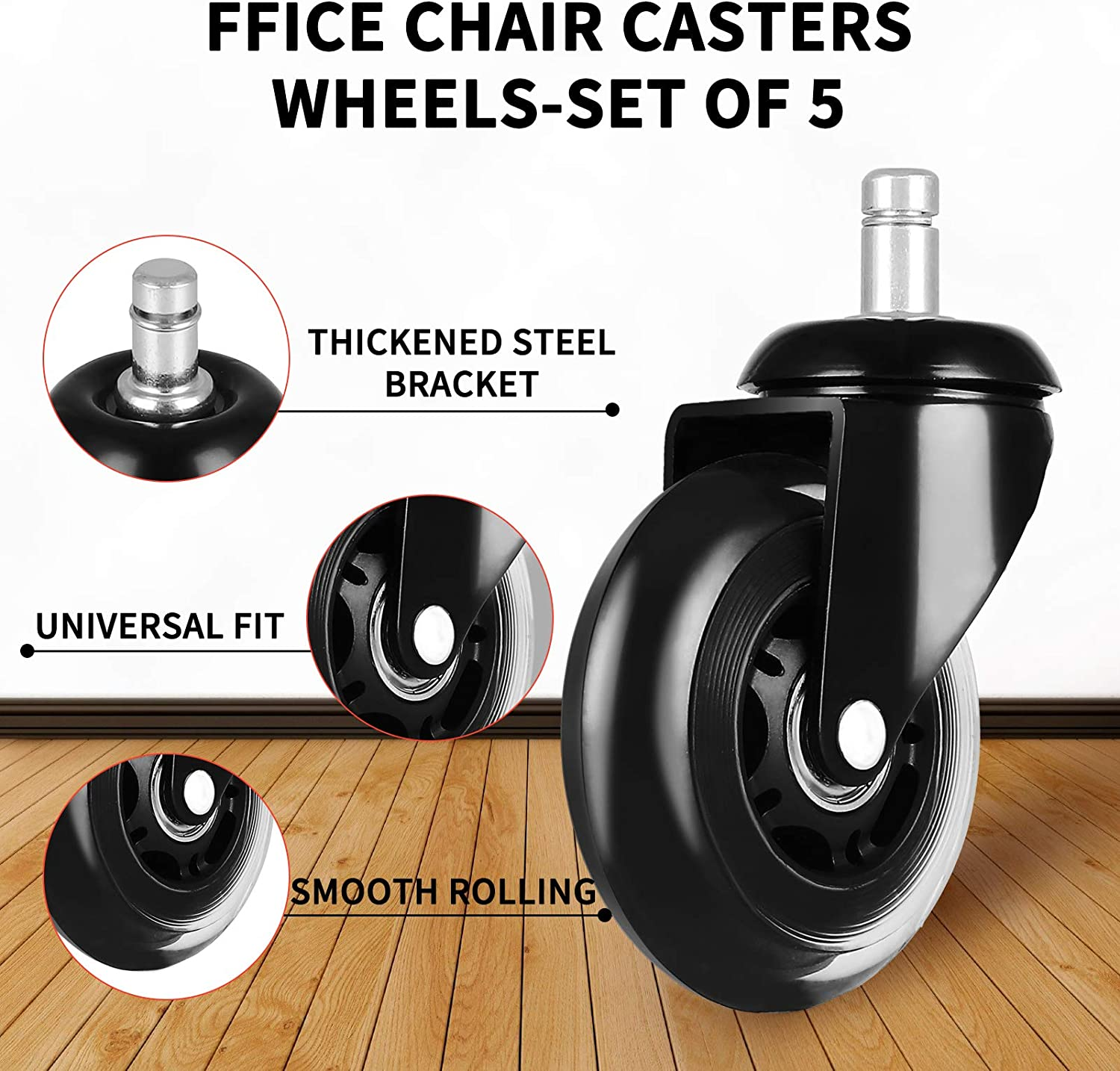 Office Chair Caster Wheels Set of 5 Black Rubber Universal Fit Office Chair Caster Wheels Replacement for All Floors 3in Durable Heavy Duty Office Chair Casters Safe for Hardwood Carpet and Mat Floors