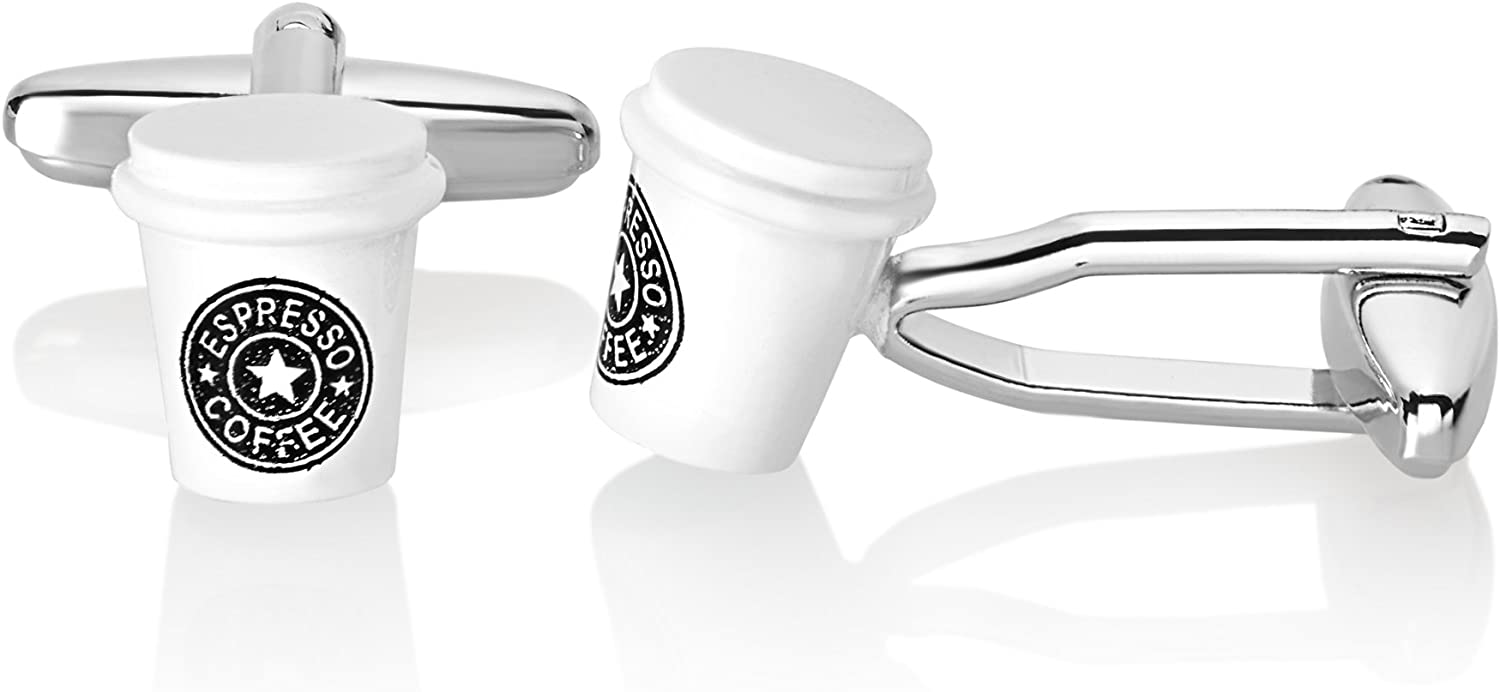 West Coast Jewelry | Crucible Men's High Polished Espresso Coffee Cup Cuff Links