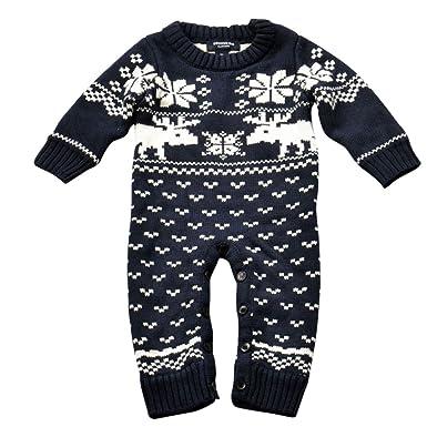 Unisexo Bebé Otono Invierno Ropa De Una Pieza Navidad Suéter Prendas De Punto Monos Peleles Azul Oscuro Altura 100CM: Amazon.es: Ropa y accesorios