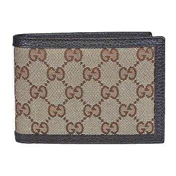 8220a9c1343 Gucci Original GG Canvas Leather Men s Bifold Wallet 260987 9903 Brown Beige