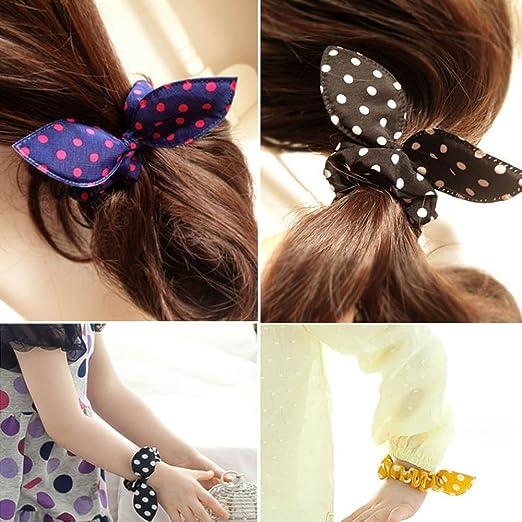 Amazon.com  Boutiages Cute Bow Hair Rabbit Ear Polka Dot Hair Band ... b679f0d75a9