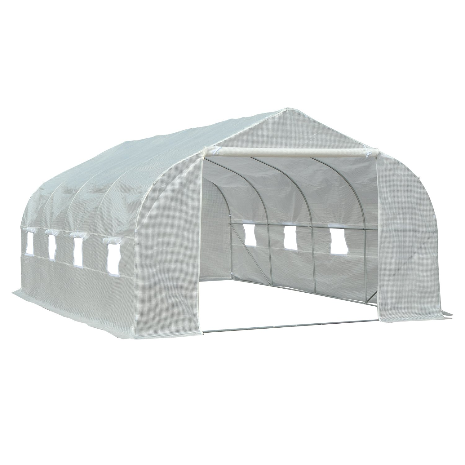 Outsunny 19.5' Portable Greenhouse Large Walk-In Garden Hot House - White