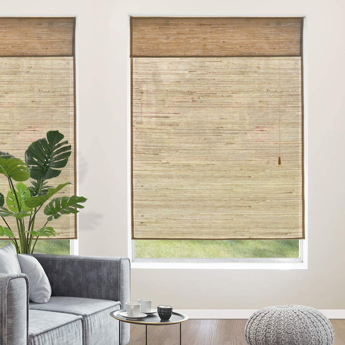 Yoolax Natural Roman Shades,100 Reed Woven Wood Window Blinds Handmade Fabric Light Filtering Shades for Home Restaurant Office Reed Yellow