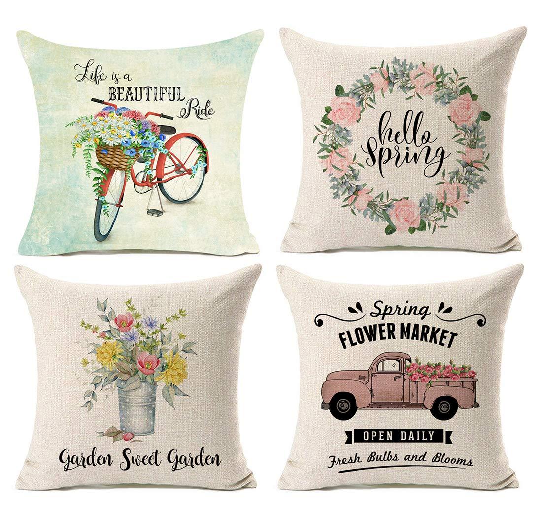 Farmhouse Spring Pillow Covers Hello Spring pillow cover