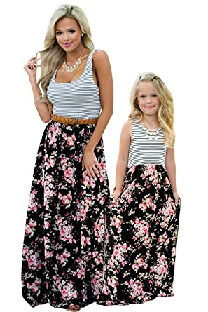 b18ed4e7d1662 Mommy and Me Dresses Floral Tank Maxi Dress Sleeveless Pocket Matching  Outfits