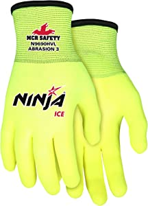 Ninja Ice Hi-Visibility 15 Gauge Nylon Insulated Cold Weather Gloves, Acrylic Terry Inner, 3/4 HPT Coating, Yellow, 1-Pair, Large