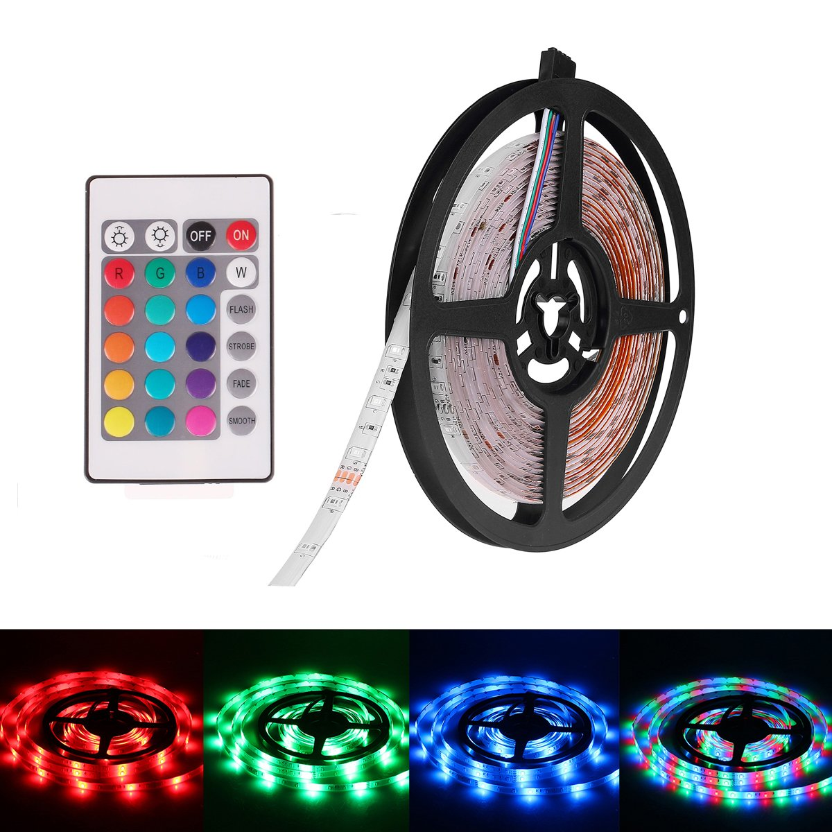 Super Bright Waterproof 12V 300 SMD LED Strip Flexible Light Strip 5050 Cool White 16.4 Foot / 5 Meter With Adhesive Back LemonBest