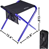 "G4Free Folding Camping Stool with Mesh Storage Pouch (Large Size: 13.4""x11.8""x13.8""),Outdoor Slacker Chair for BBQ,Fishing,Travel,Hiking,Garden,Beach"