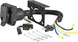CURT 57674 Dual-Output 4-Way Flat Vehicle-Side to 7-Way RV Blade Trailer Wiring Adapter with Tester