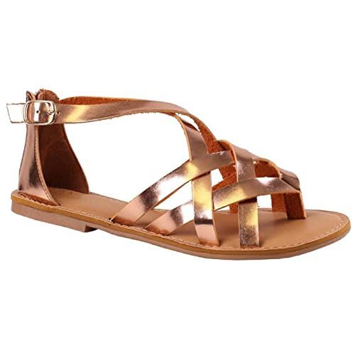 62a451b20bccf Rampage Women s Myra Strappy Woven Sandals Thong Toe with Buckle Rose Gold  10