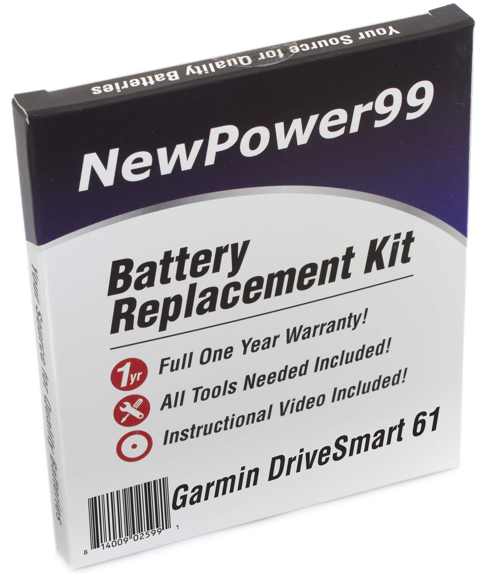 NewPower99 Battery Replacement Kit for Garmin DriveSmart 61 with Installation Video, Tools, and Extended Life Battery.