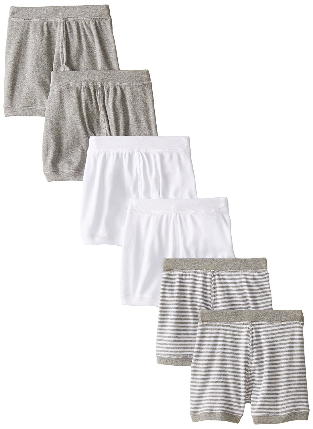 Burt's Bees Baby Set of 6 100% Organic Cotton Boxer Shorts, Cloud/Heather Grey/Stripe, 24 Months
