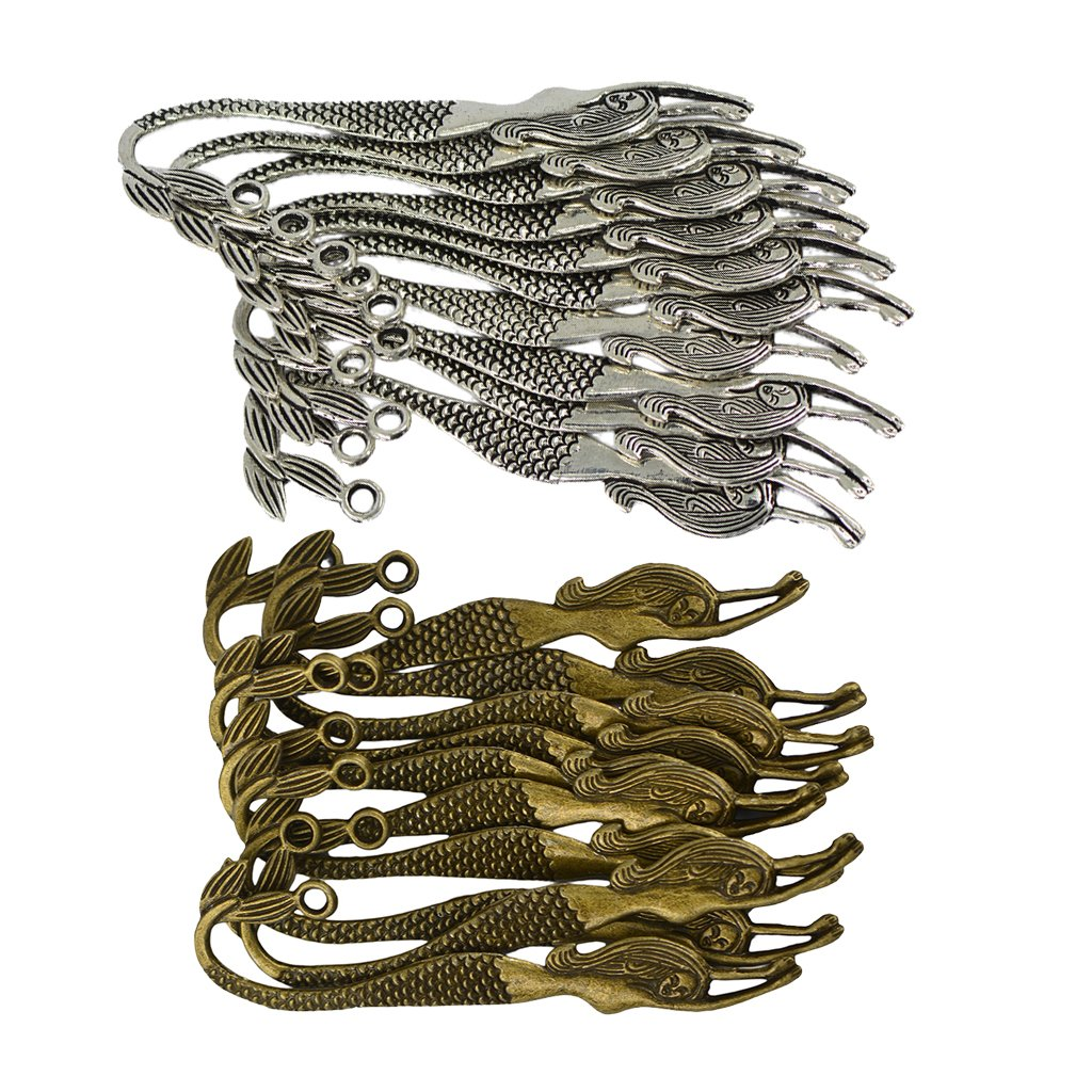 Fenteer 20pcs Wholesale Antique Silver Bronze Mermaid Charms Bookmarks for Beading