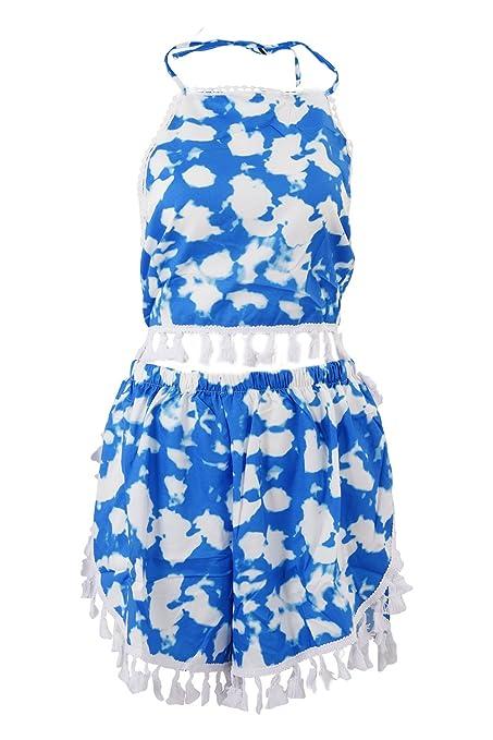 SODIAL 2 piece set women dress tropical women clothing vestidos short backless beach party summer dress