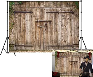LB 9X6ft Vinyl Vintage Barn Door Backdrop Rustic Wooden Door Photo Backdrop Western Cowboy Retro Background for Newborn Baby Shower Kids Birthday Party Portrait Photo Booth Backdrop
