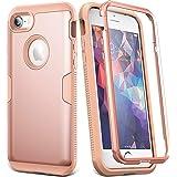 YOUMAKER iPhone 8 & iPhone 7 手机壳,全身坚固,带内置屏幕保护膜加厚保护纤薄款防震保护套适用于苹果 iPhone 8 (2017) 4.7 英寸 玫瑰金/粉色