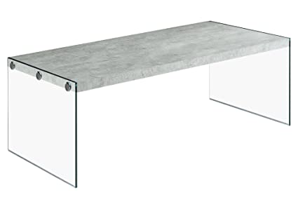Monarch Specialties I 3230, Coffee Table, Tempered Glass, Grey Cement,  44u0026quot;