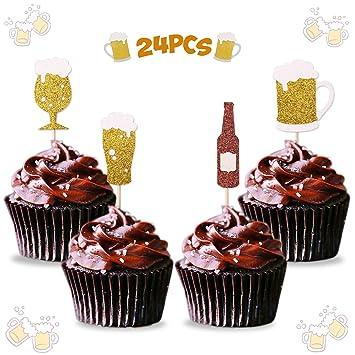 Amazon.com: Levfla - Taza de cerveza para cupcakes, 24 ...