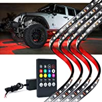 LUMENIX Car Underglow Neon Led Light Kit with Remote Control, High Intensity 5050 SMD Multi-Color Underbody RGB Strip…