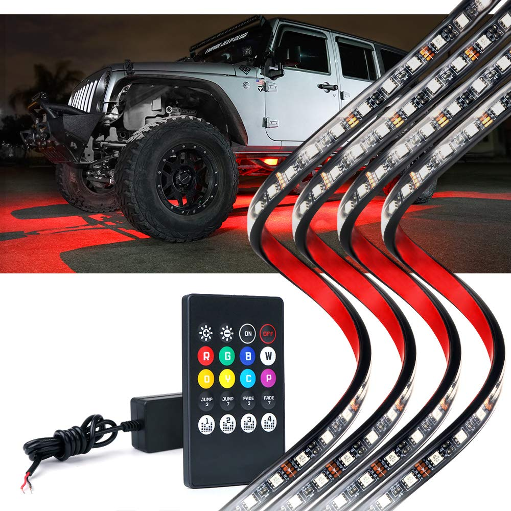 Lumenix Car Underglow Neon Led Light Kit with Remote Control Universal Multi-Color Underbody RGB Strip Light System with Sound Active