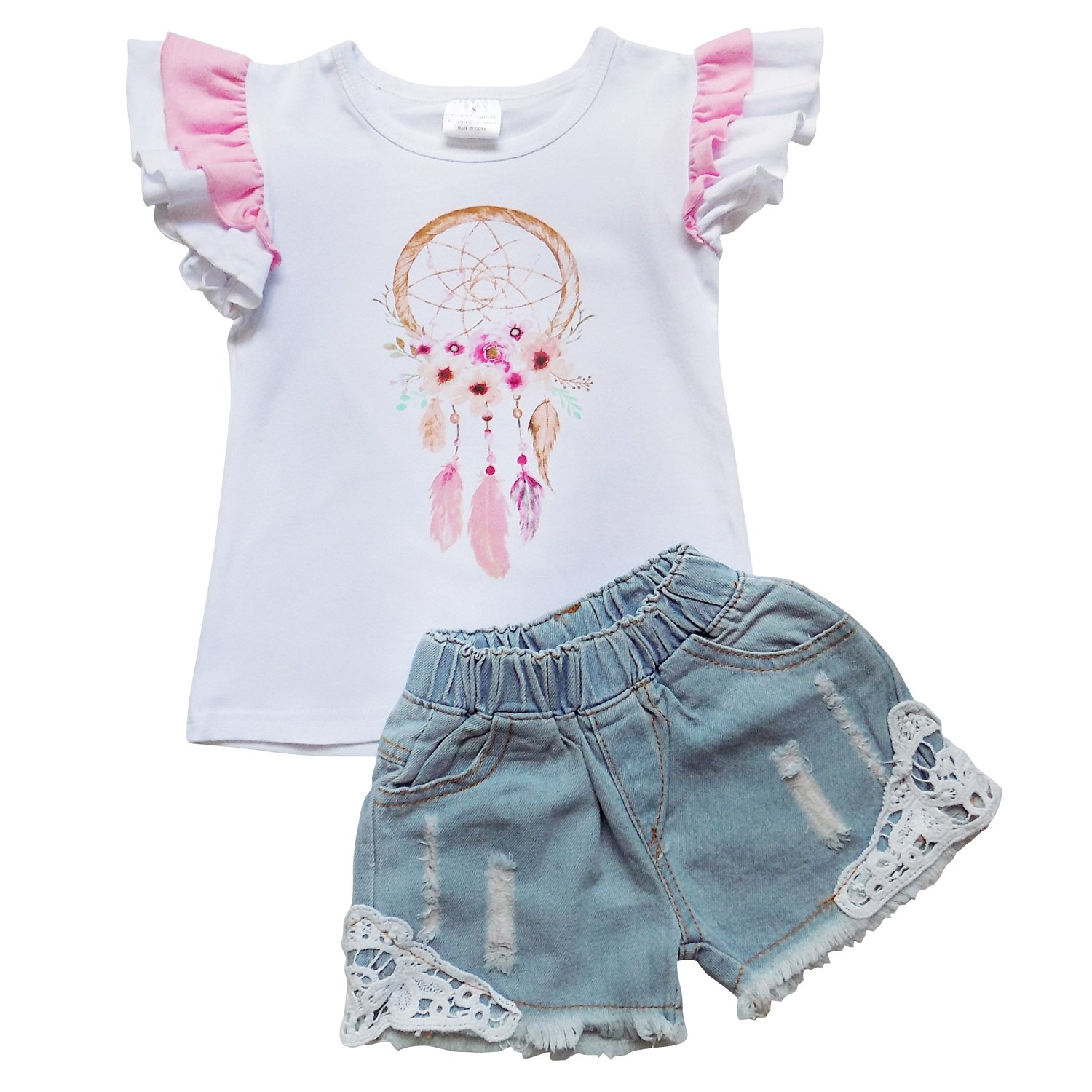 So Sydney Girls Toddler Deluxe Novelty Ruffle Summer Boutique Shorts Outfit (S (3T), Dreamcatcher Denim Lace)